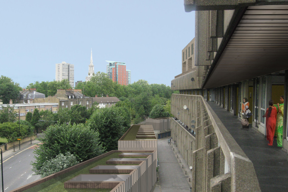 Sarah-Wigglesworth-Architects Robin-Hood-Gardens-Retrospective Sustainable-Future-Balcony-Perspective Feature-1800
