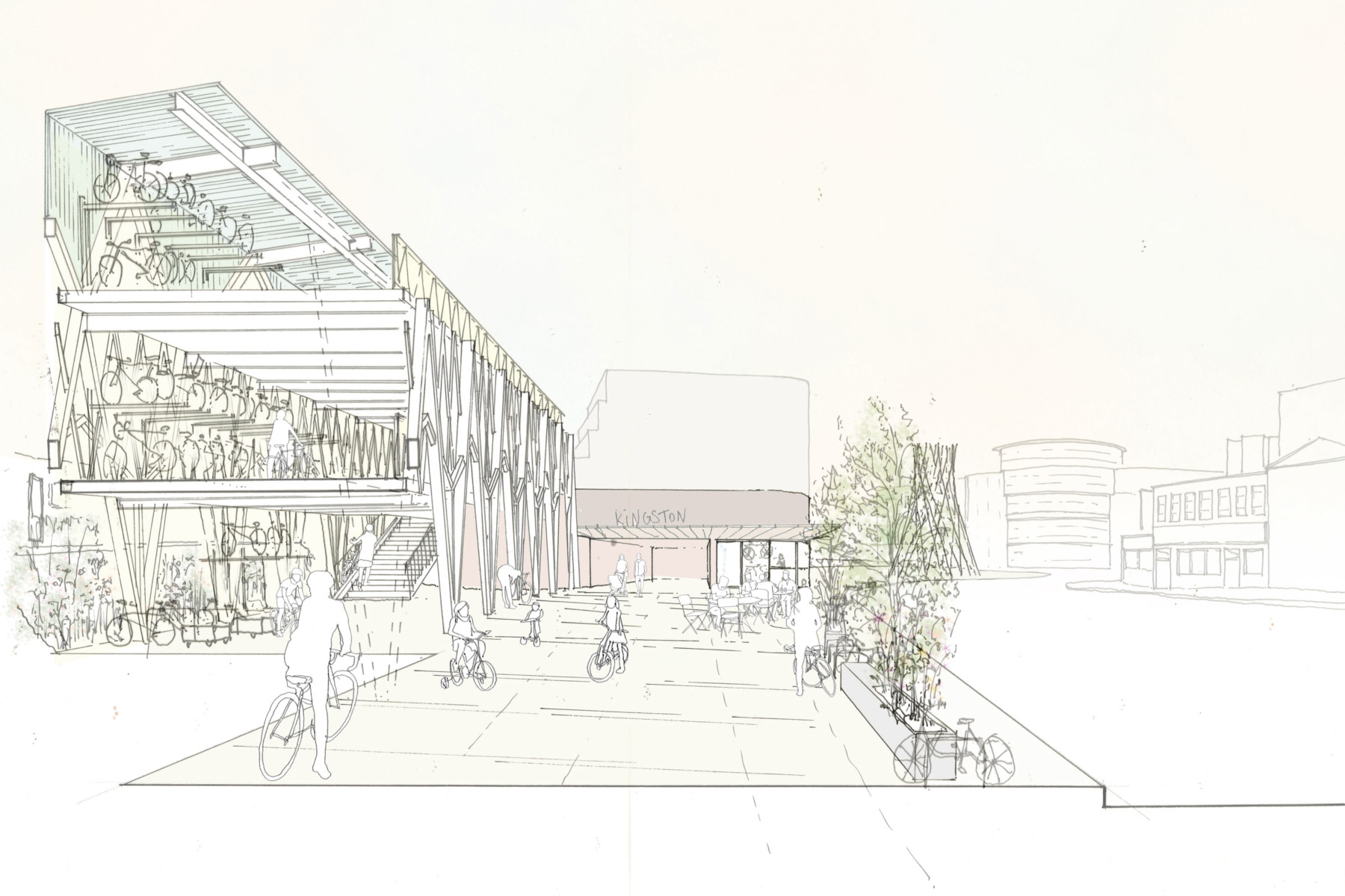 Sarah-Wigglesworth-Architects Kingston-Mini-Holland Hub 5 Perspective 3600