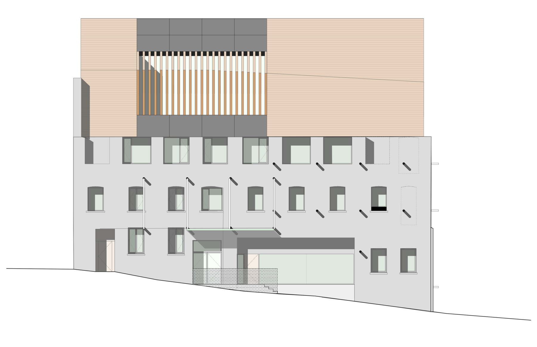 Sarah-Wigglesworth-Architects Swansea-Print-Works Drawing Elevation 3600
