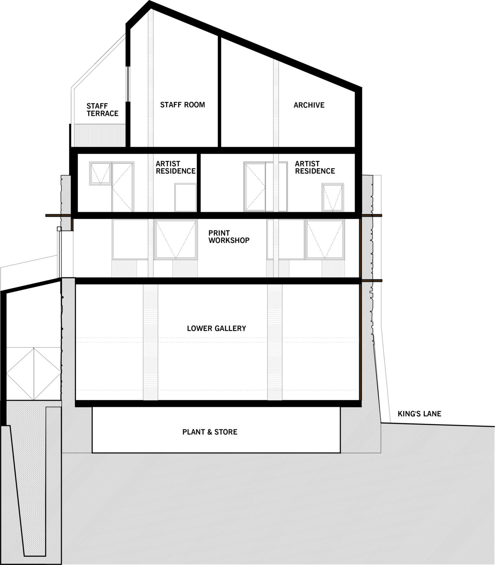 Sarah-Wigglesworth-Architects Swansea-Print-Works Drawing Section 3600