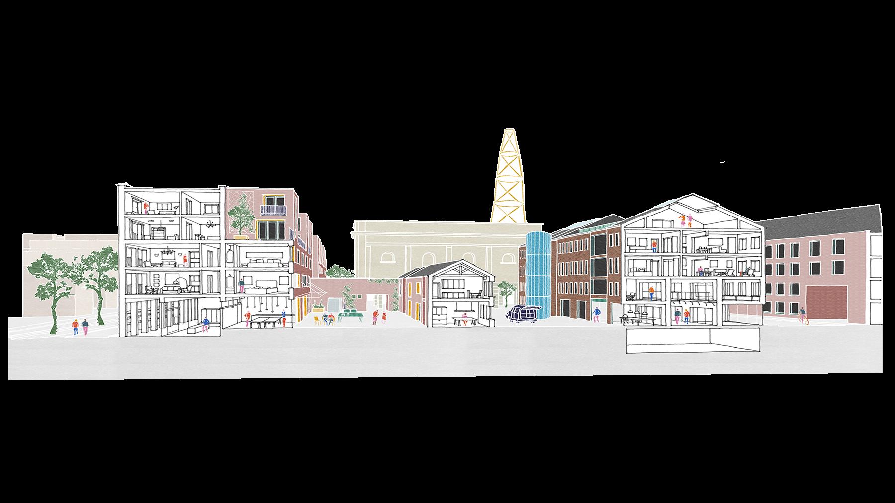 Sarah-Wigglesworth-Architects Unlocking-Pentonville Live-Work-Section Drawing 1800