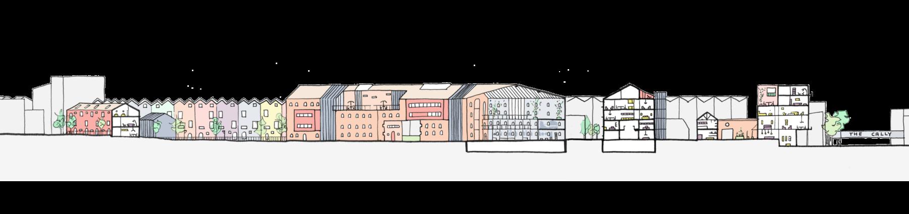Sarah-Wigglesworth-Architects Unlocking-Pentonville Site-Section-AA Drawing 3600