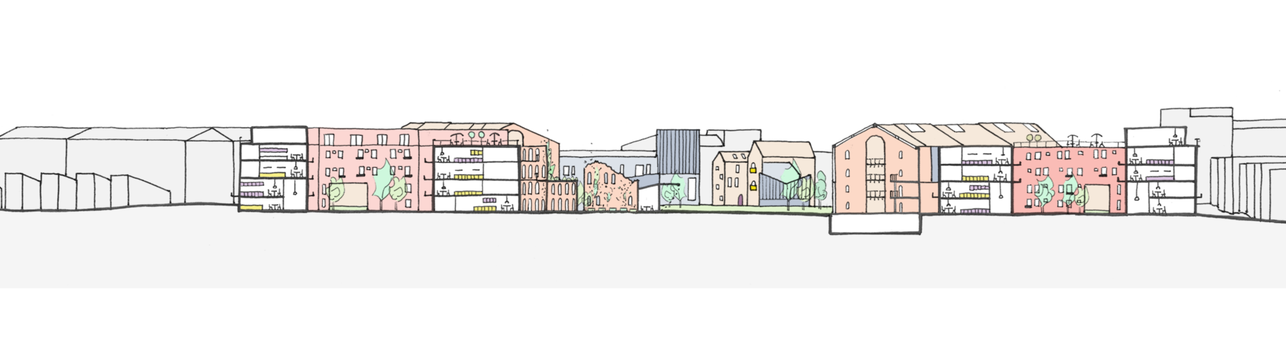 Sarah-Wigglesworth-Architects Unlocking-Pentonville Site-Section-BB Drawing 3600
