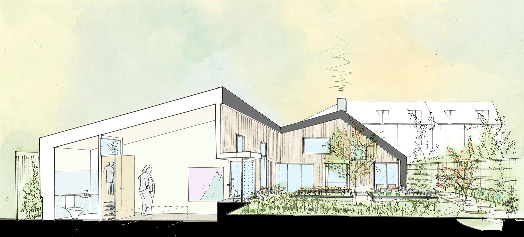 Sarah-Wigglesworth-Architects Haycroft-Gardens Development-Section-Bedroom 1800