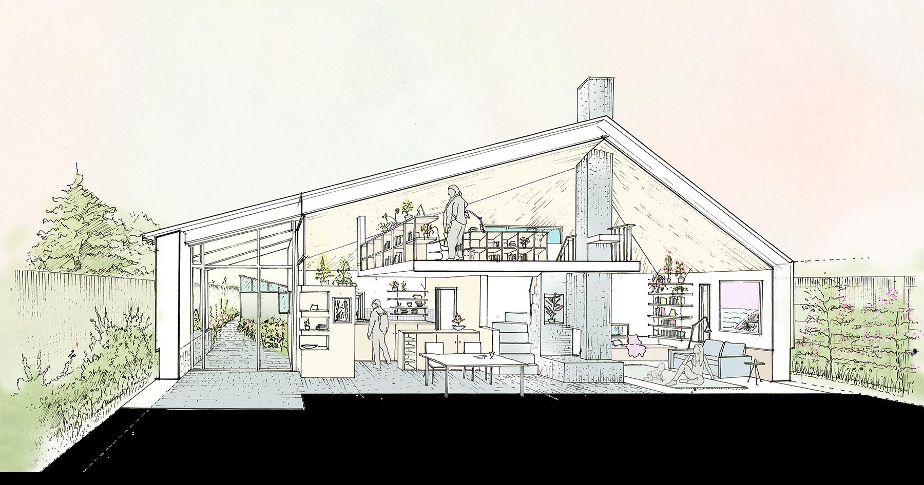 Sarah-Wigglesworth-Architects Haycroft-Gardens Development-Section-Living-Area 1800