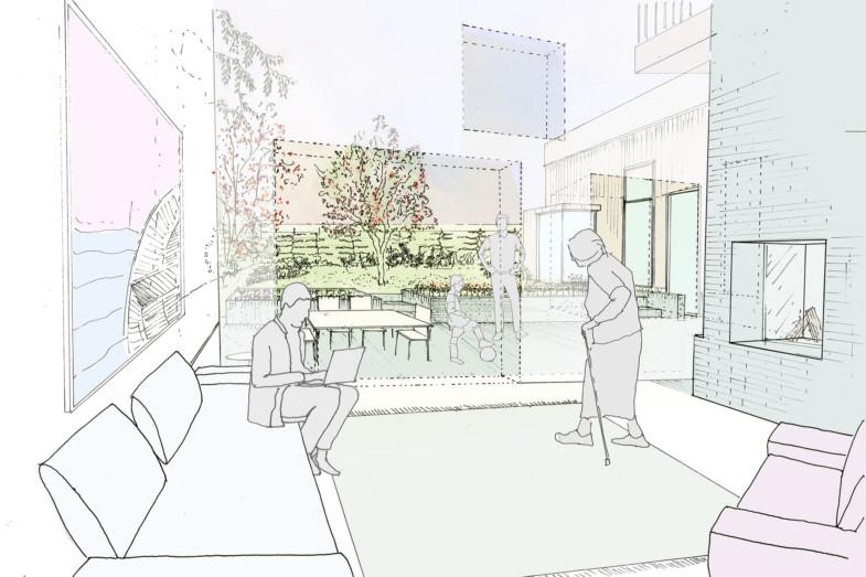 Sarah-Wigglesworth-Architects Haycroft-Gardens Living-Room-View 1800