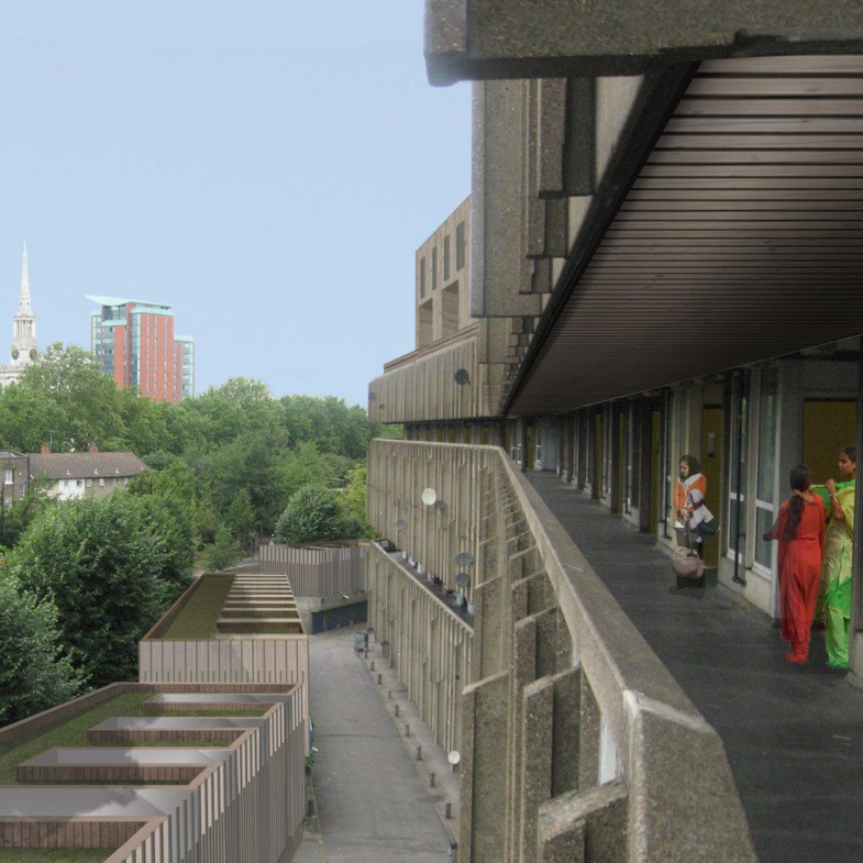Sarah-Wigglesworth-Architects Robin-Hood-Gardens-Retrospective Sustainable-Future-Balcony-Perspective Square-1800