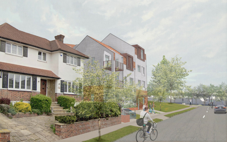 Sarah Wigglesworth Architects Covington Court Approach from Covington Way