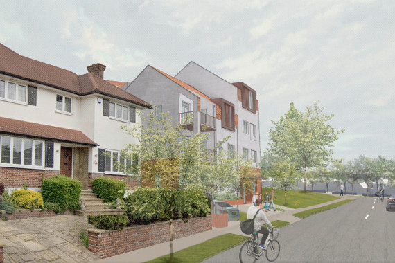 Sarah Wigglesworth Architects Covington Court Approach from Covington Way Featured Image