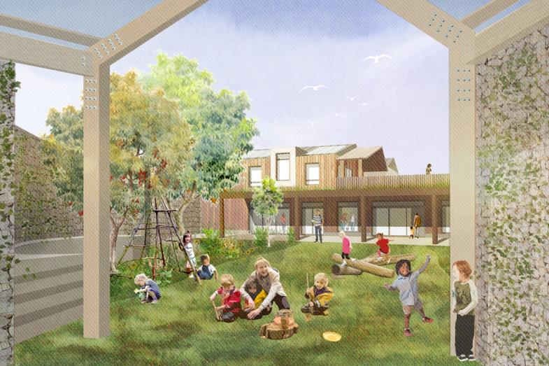Sarah-Wigglesworth-Architects Portland-Nursery Garden-View 1800 Feature