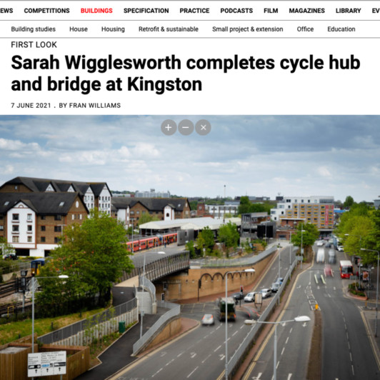 Sarah Wigglesworth completes cycle hub and bridge at Kingston sq image